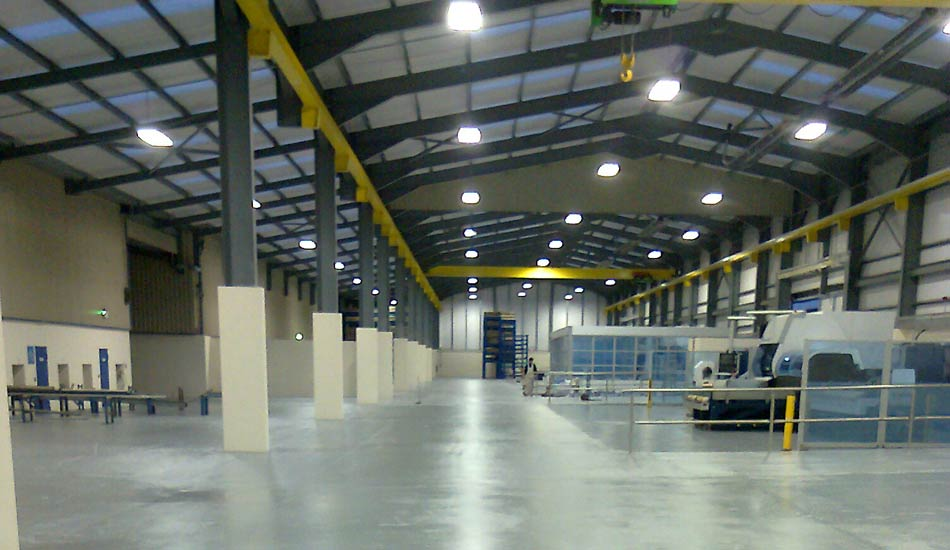 Industrial floor painting in Dairymaster warehouse at Causeway Co. Kerry Ireland  by Total Paintworks Ltd.